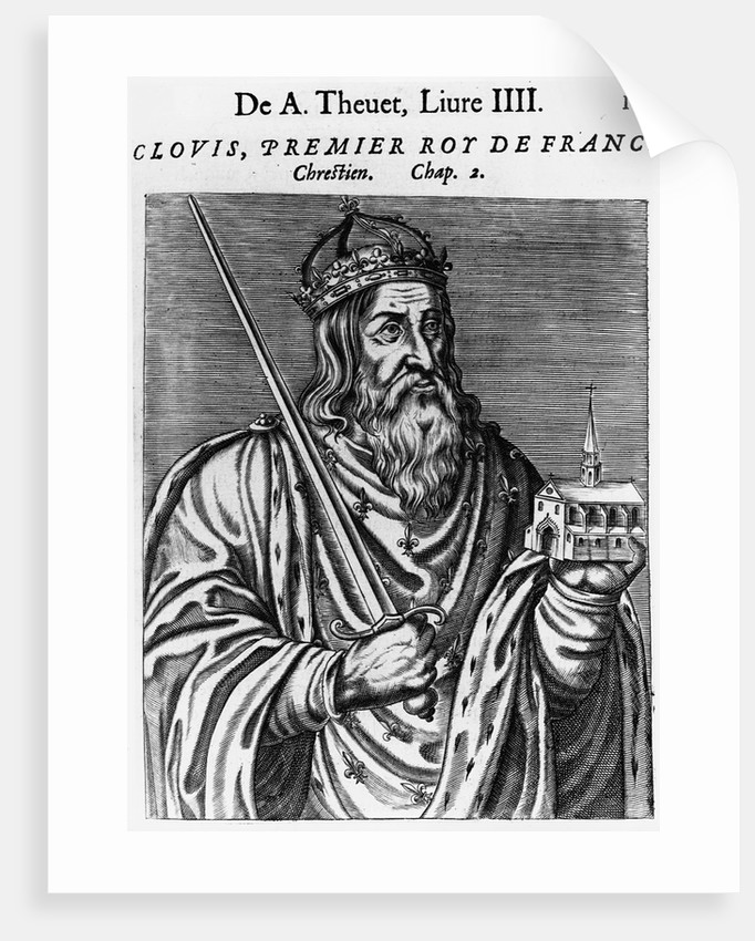 Engraving of Clovis by Andre Thevet