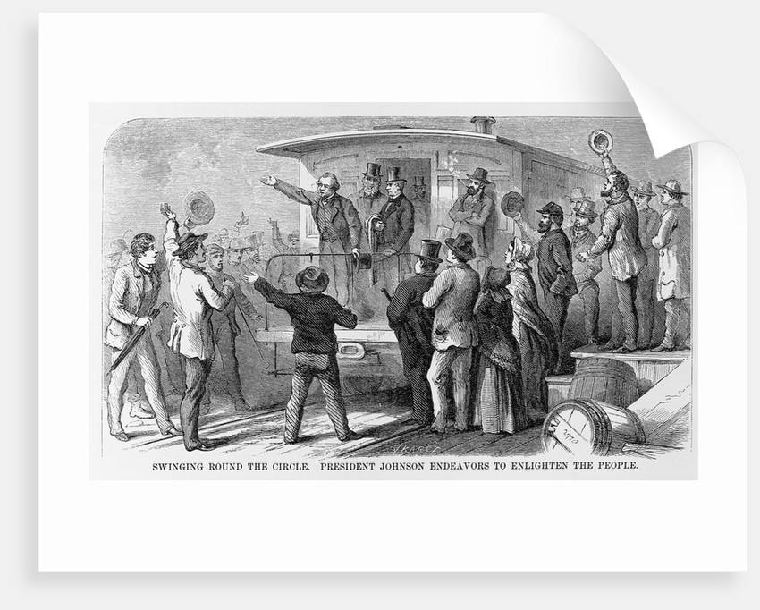 Andrew Johnson Speaking From a Train by Corbis