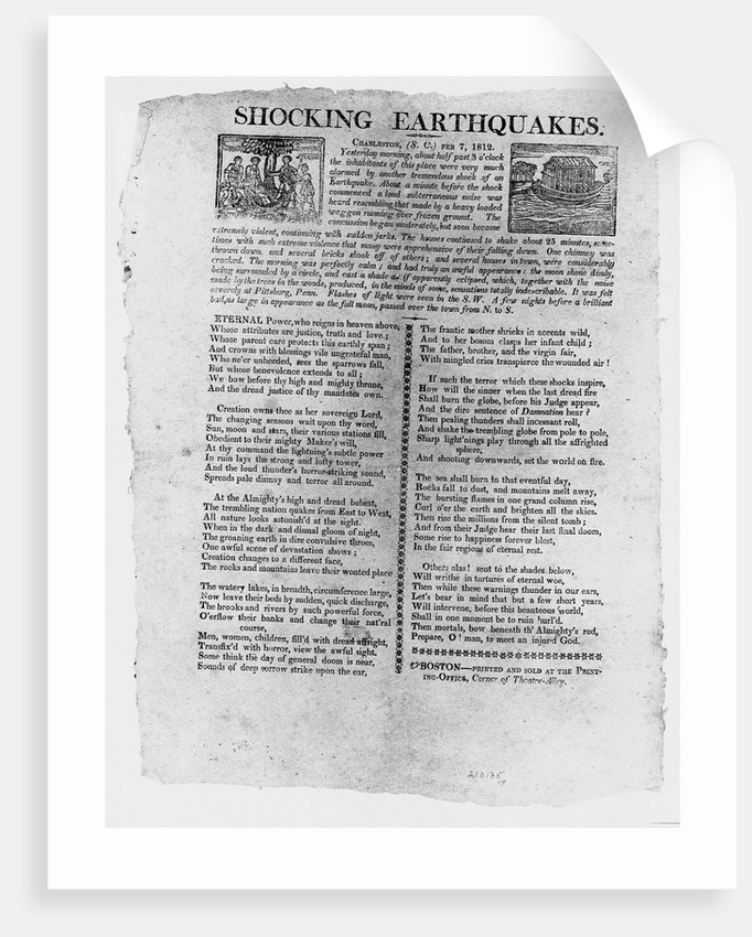 Written Account of an Earthquake by Corbis