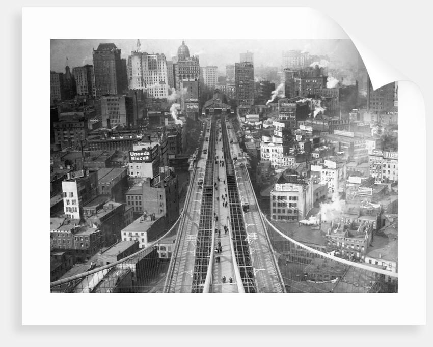 Manhattan From Brooklyn Bridge Tower by Corbis
