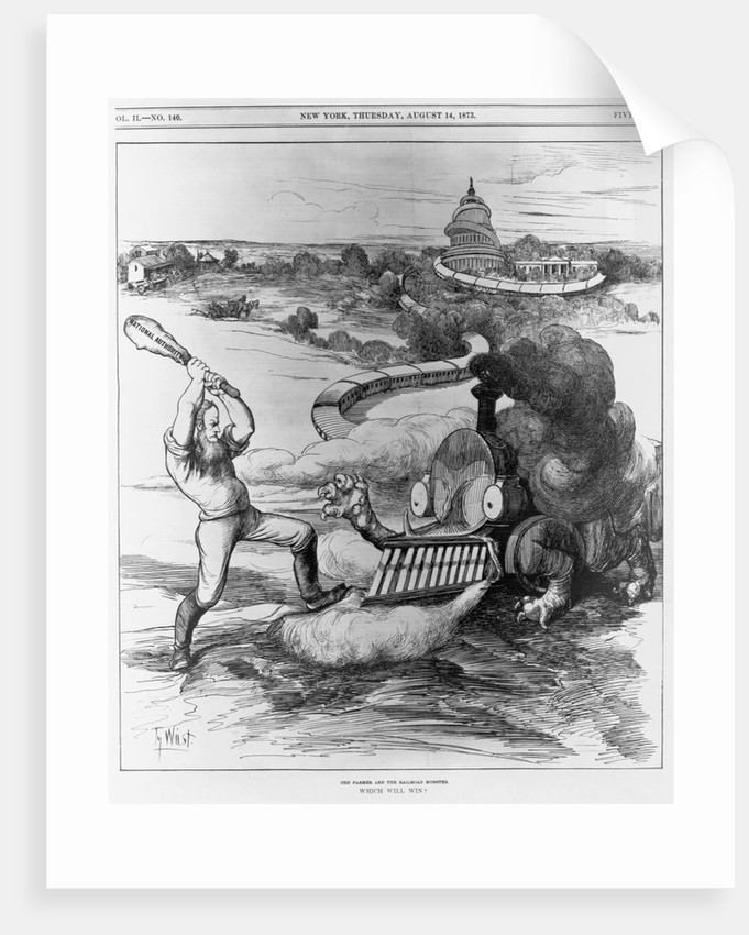Political Cartoon of Farmers vs. the Railroads by Corbis