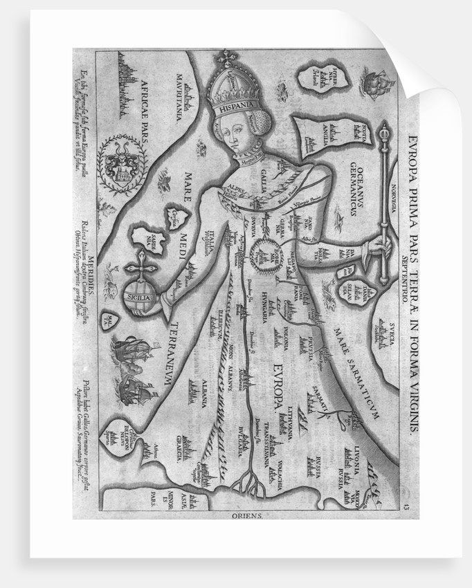 German Engraving Map of Europe in the Figure of Queen Elizabeth I by Corbis