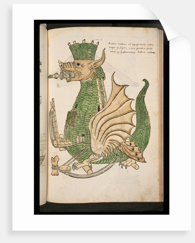 15th-Century Illustration of a Siege Machine in the Shape of a Dragon by Corbis