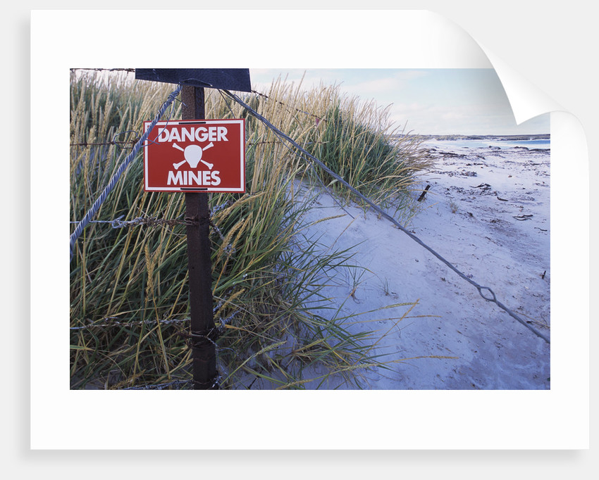 Mine Field Warning Sign by Corbis