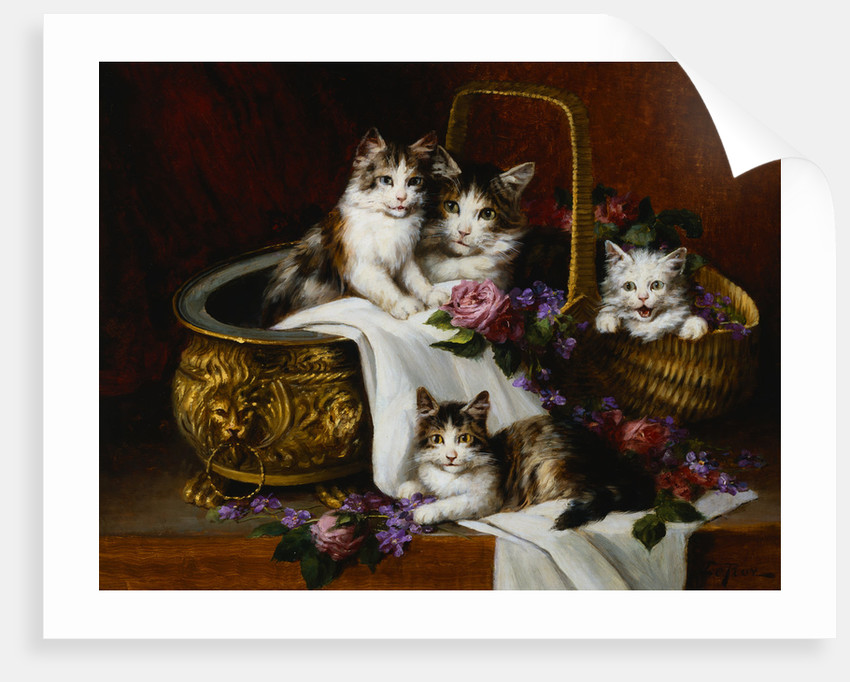 A Tabby Cat with Her Kittens in a Basket of Roses and Violets by Jules Le Roy