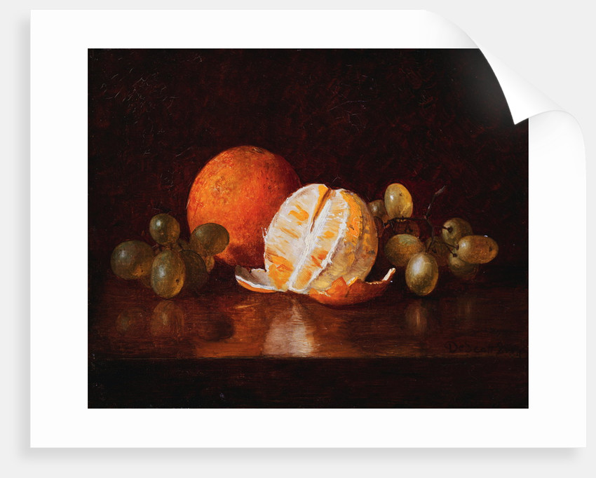 Still Life with Orange and Grapes by Descott Evans