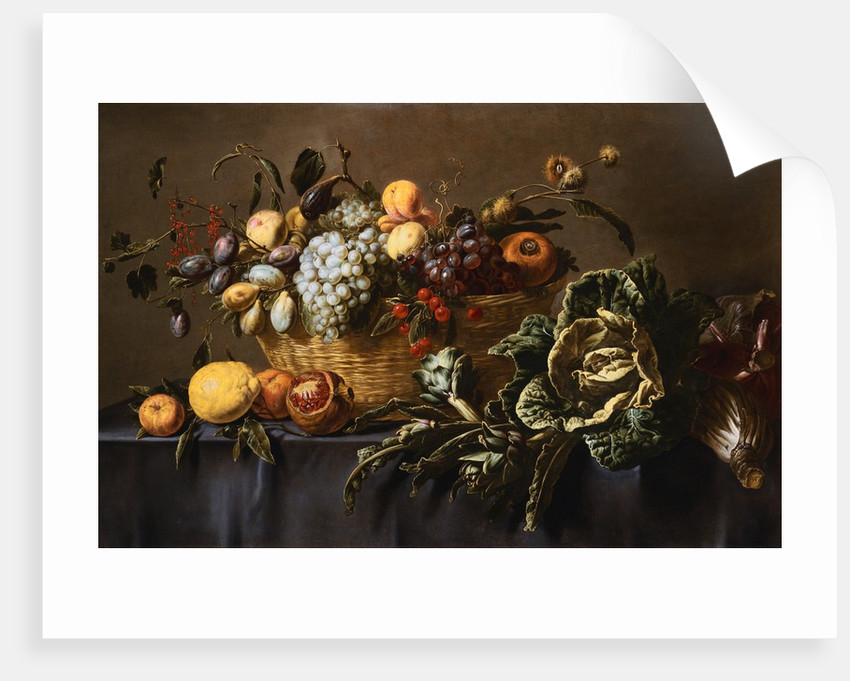 Grapes, Plums and Other Fruits and Nuts in a Wicker Basket with Vegetables on a Draped Table by Adriaen van Utrecht