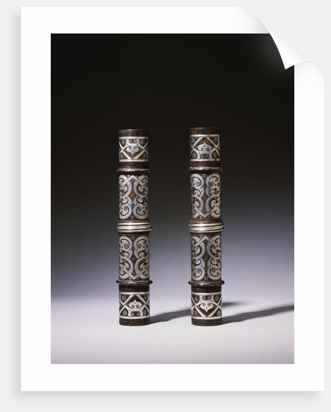 A Pair of Silver-Inlaid Bronze Cylindrical Fittings from the Warring States Period by Corbis