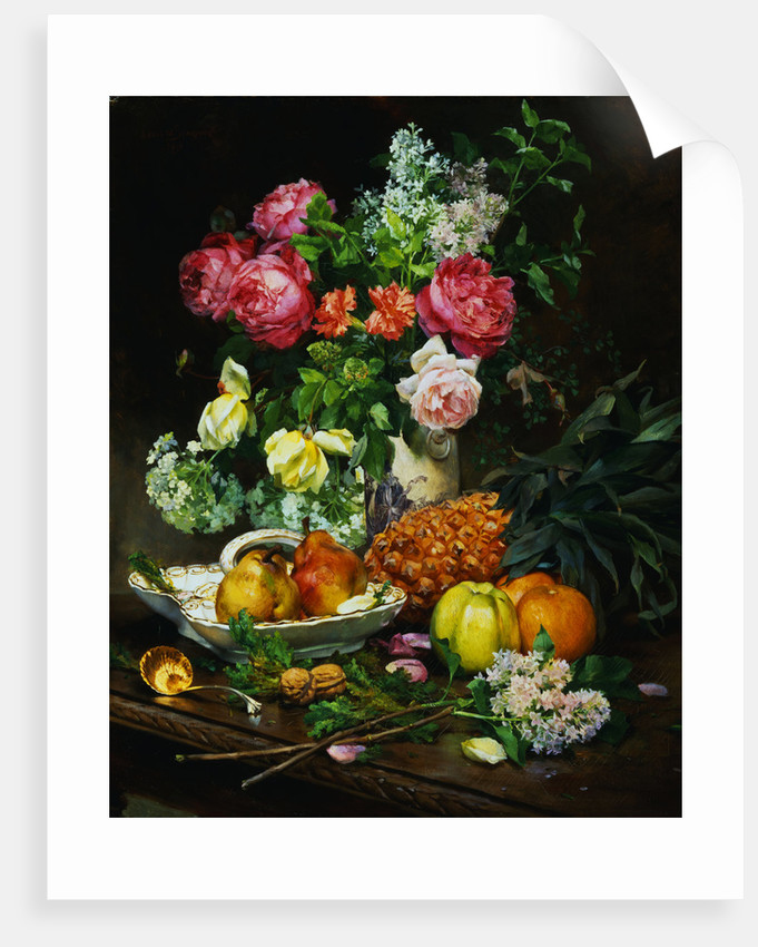 Painting Of Roses In A Vase Pears In A Porcelain Bowl And Fruit On