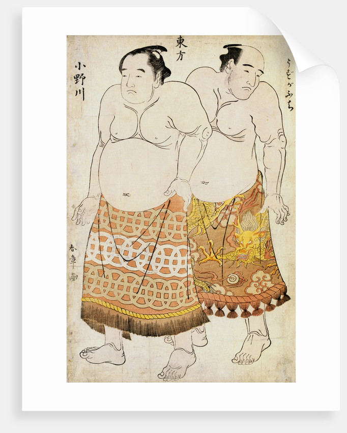 Full-Length Portraits of Wrestlers from the Eastern Group, Uzugafuchi on the Right and Onogawa on the Left by Shunsho