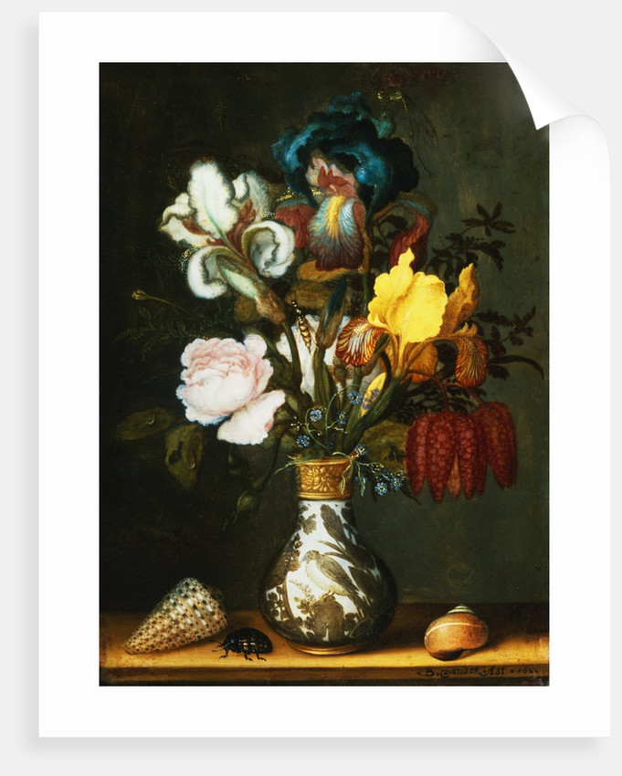 Irises, Roses and Other Flowers in a Porcelain Vase by Balthasar van der Ast
