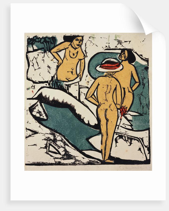 Women Bathing Between White Rocks by Ernst Ludwig Kirchner