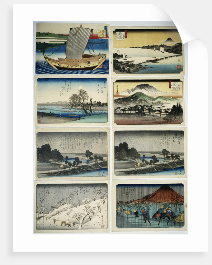 Collection of Assorted Woodblock Prints with Weather and Other Scenes by Utagawa Hiroshige, Eisen, and Katsushika Hokusai by Corbis
