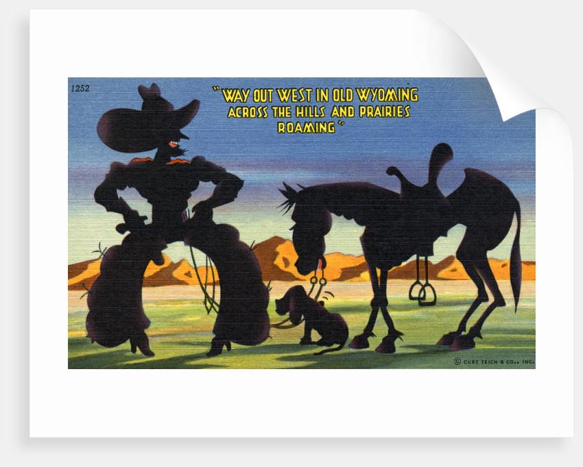 Cartoon of Cowboy Promoting Wyoming by Corbis