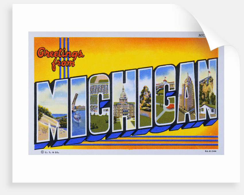 Postcard of greetings from michigan posters prints by corbis postcard of greetings from michigan by corbis m4hsunfo