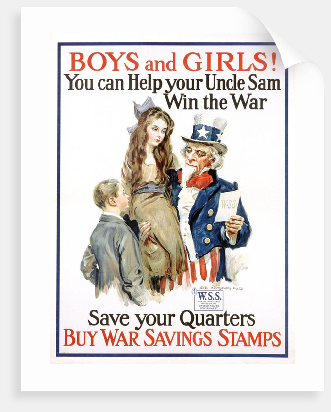Boys and Girls! War Savings Stamps Poster by James Montgomery Flagg