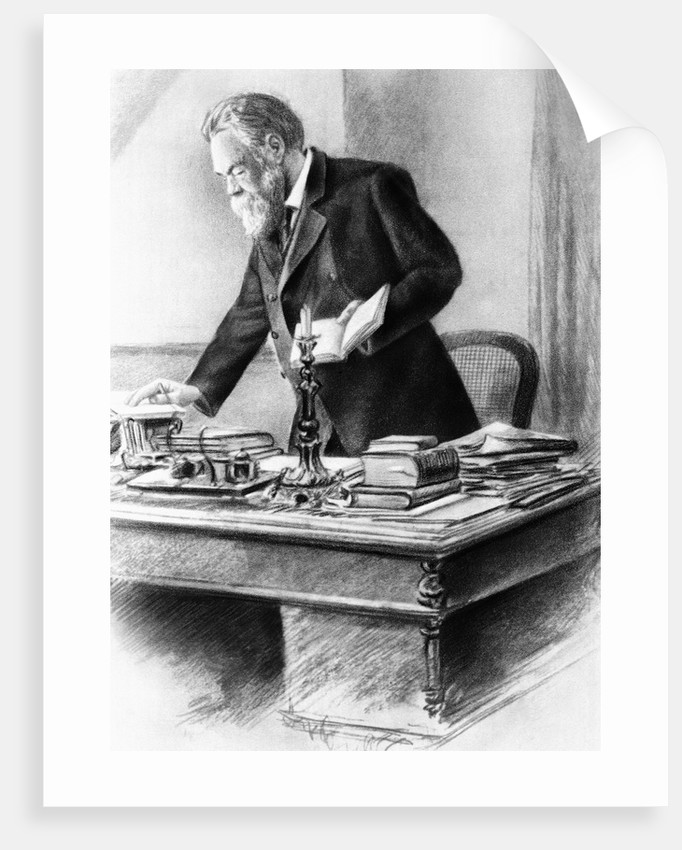 Friedrich Engels Working in His Office by Corbis