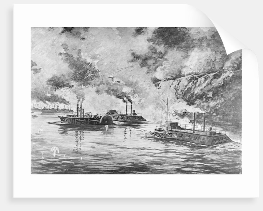 19th-Century Print Showing Rear Admiral Porter's Flotilla Arriving at Vicksburg by Corbis