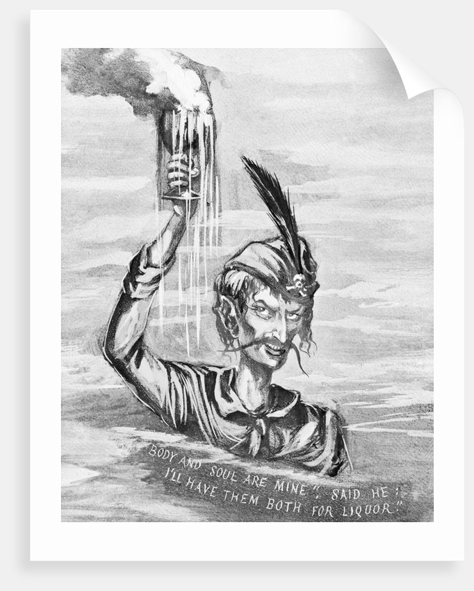 Drawing Depicting Devil of Alcohol by Corbis