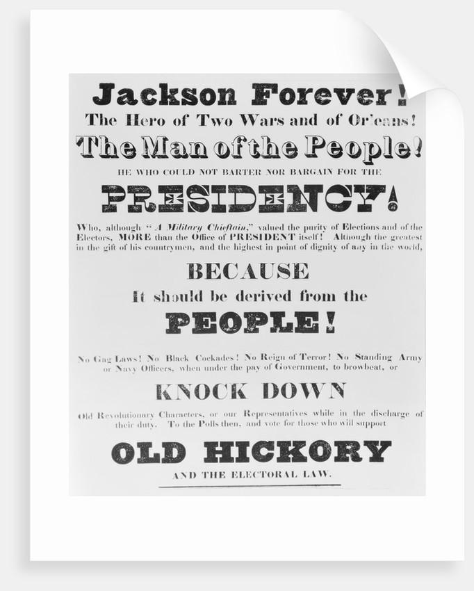 Election Poster for Andrew Jackson's Campaign by Corbis