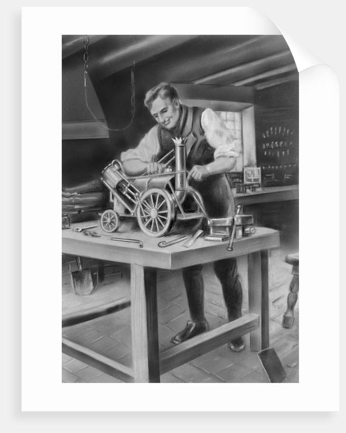 George Stephenson Making Model by Corbis