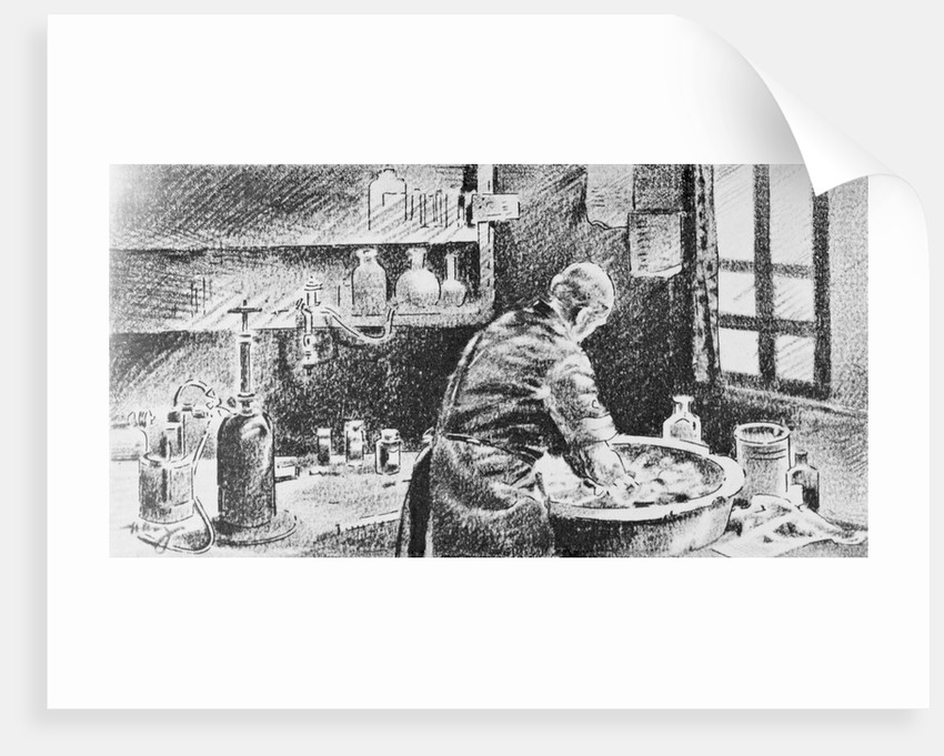Illustration of Ignaz Semmelweis Washing Hands before Operating by Corbis