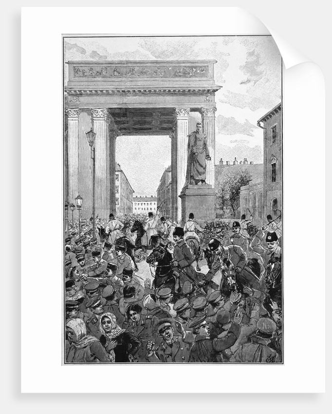 Engraving of Police Charging a Crowd in St. Petersburg, Russia by Corbis