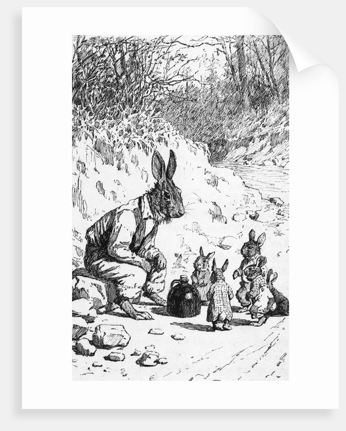 Illustration of Brer Rabbit with Little Rabbits by Corbis