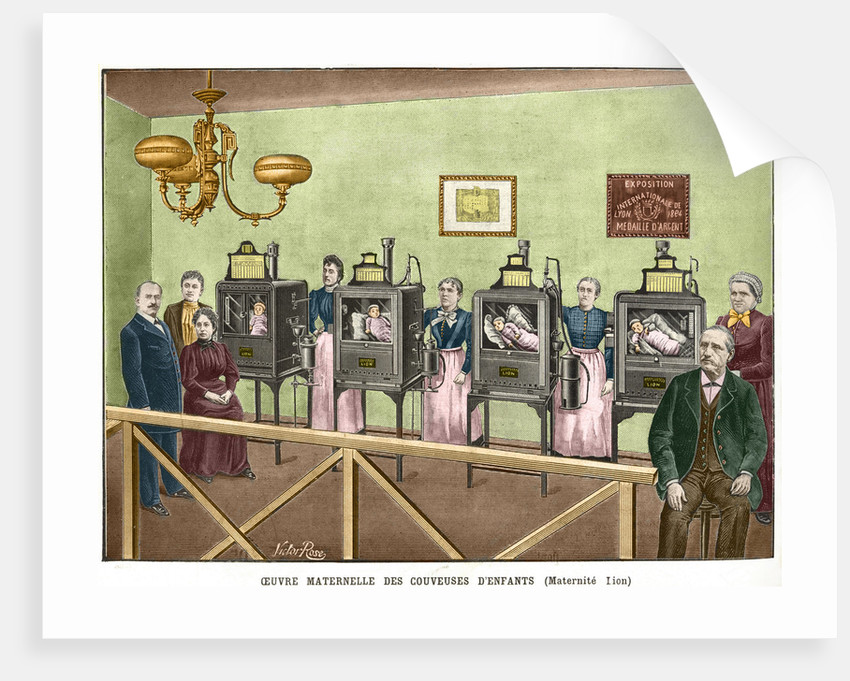 19th Century Color Engraving of Infant Incubators by Victor Rose