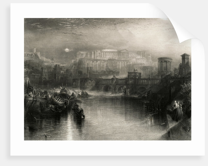 Engraving Depicting Life in Ancient Rome by Joseph Mallord William Turner