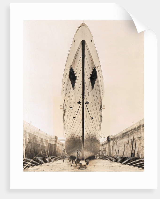 Bow of Queen Mary in Drydock by Corbis