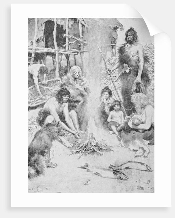 Prehistoric Family Surrounding Fire by Corbis