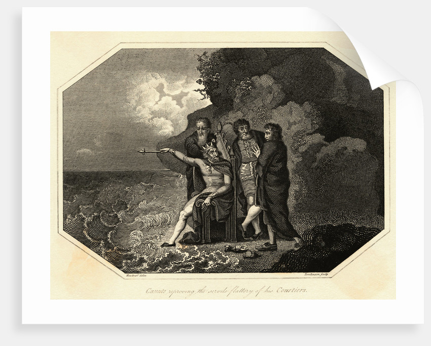 Engraving of King Canute with Courtiers by Corbis