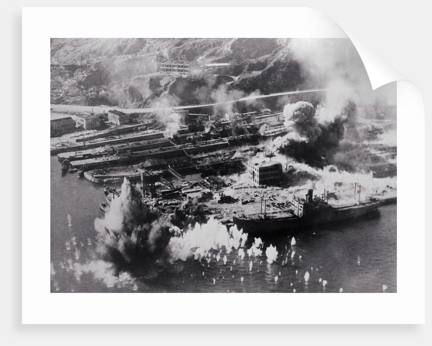 Aerial View of Smoking Land Attacks by Corbis