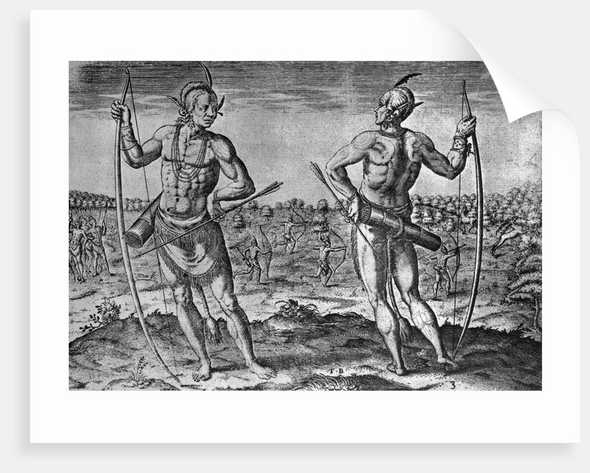 Engraving by Theodor de Bry After A Weroans or Great Lord of Virginia by John White