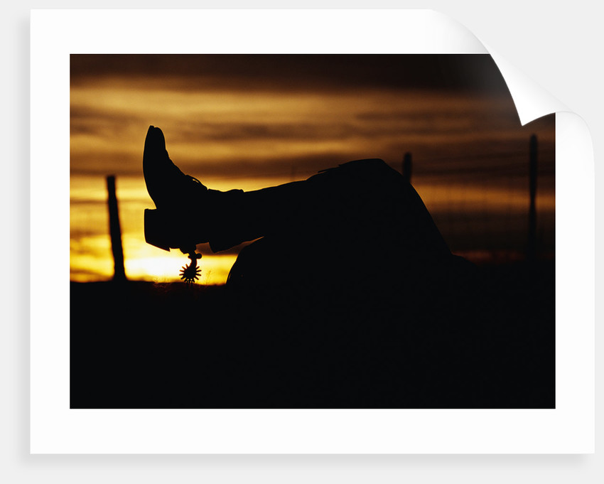 Cowboy's Boot and Spur Silhouetted at Sunrise by Corbis