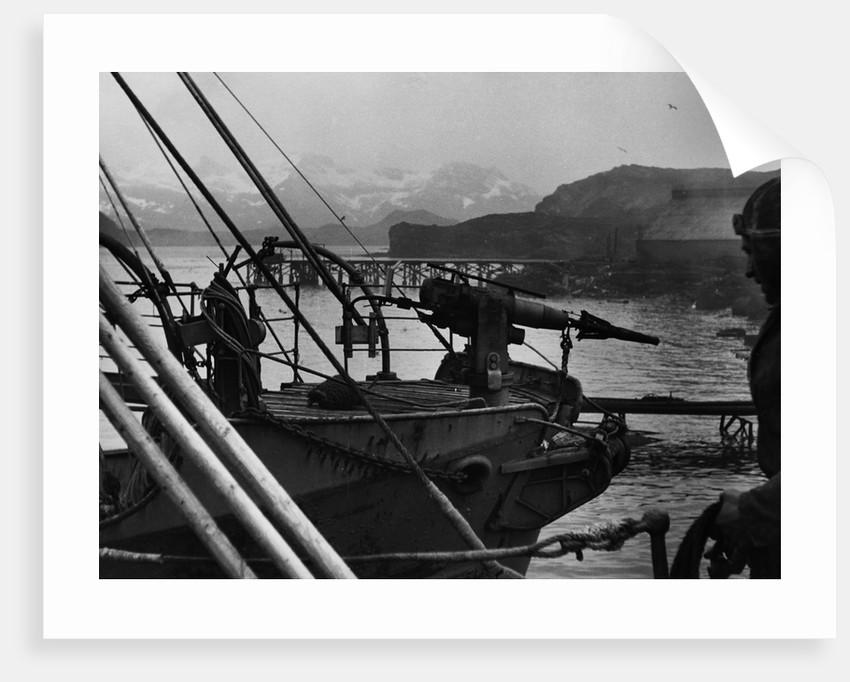 A Modern Harpoon Gun on a Whaling Boat by Corbis