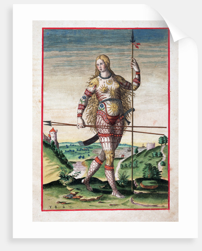 Hand-Colored Engraving of a Pictish Woman by Theodor de Bry