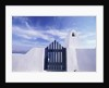 Blue gate and white wall, Oia, Santorin, Cyclades, Greece by Corbis