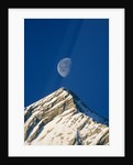 Europe, Alps, Wetterstein Mountains, Alpspitze, moon over peak by Corbis