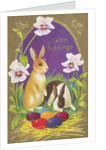 Easter Greetings Postcard with Two Rabbits by Corbis