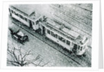 Urban traffic during snowfall, historic photo by Corbis