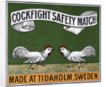 Cockfight Safety Match Swedish Matchbox Label by Corbis