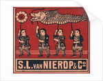 Chinese Matchbox Label with Children Holding a Parade Dragon by Corbis