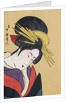 Japanese Matchbox Label with a Woman Wearing Traditional Hair Ornaments by Corbis
