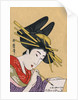Japanese Matchbox Label with a Woman Painting by Corbis