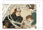 Illustration of a Fireman Rescuing a Woman and Child by Marie Schubert