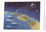 Biekens Pictorial Sticker with Beams Sent from Earth to Another Planet by Corbis