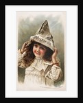 Hire's Root Beer Trade Card with Girl Wearing a Newspaper Hat by Corbis