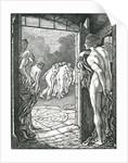 Illustration of Nude Women Near a Doorway by Laurence Housman